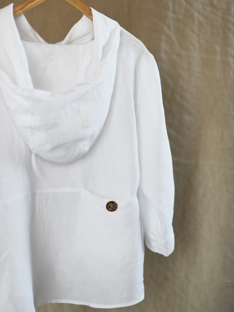 lniana bluza z kapturem