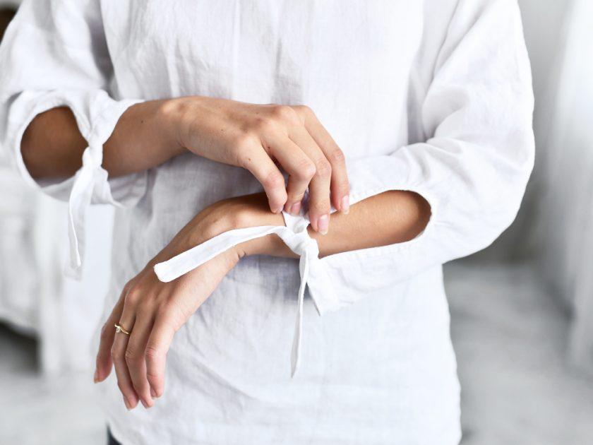 lniana bluzka z długim rękawem