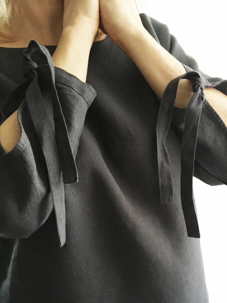 lniana koszula czarna długi rekaw