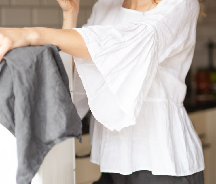 lniana bluzka z falbana