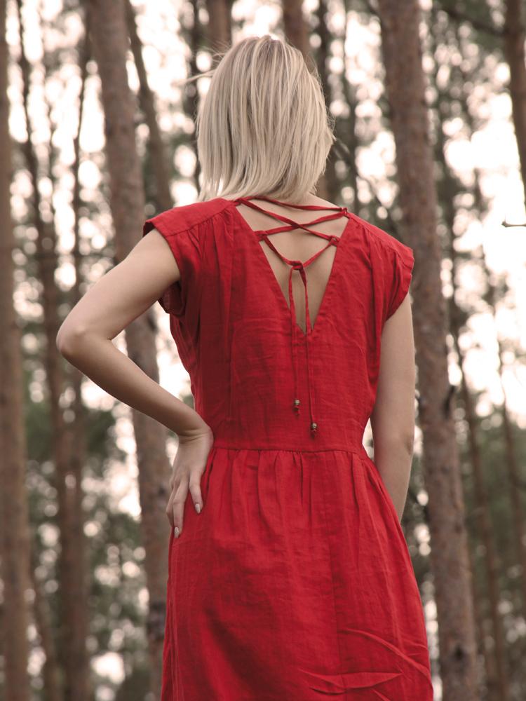 lniana czerwona sukienka