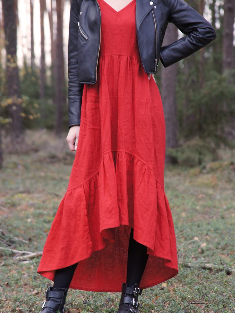 sukienka z dekoltem lniana