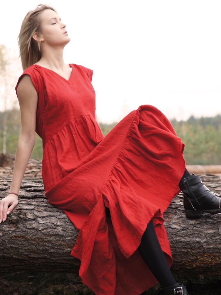 lniana sukienka czerwona