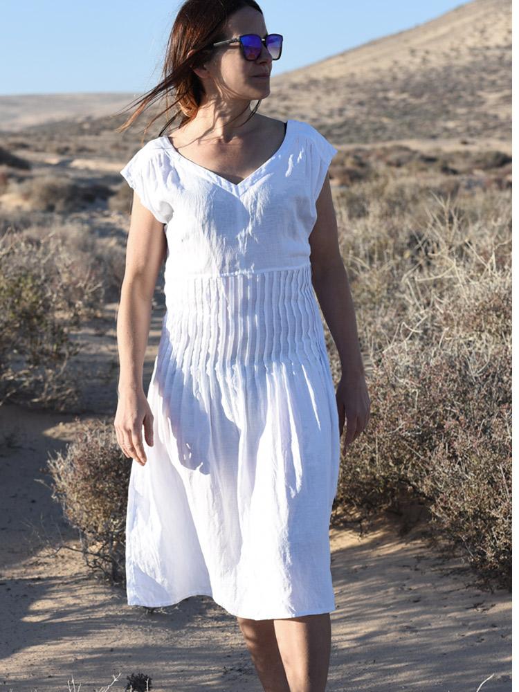 lniana sukienka plisowana