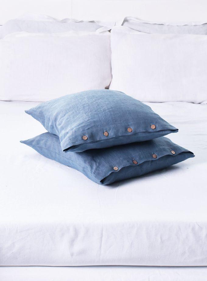lniane poszewki na poduszki niebieskie