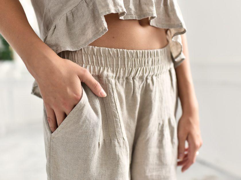 spodnie z gumką lniane wygodne