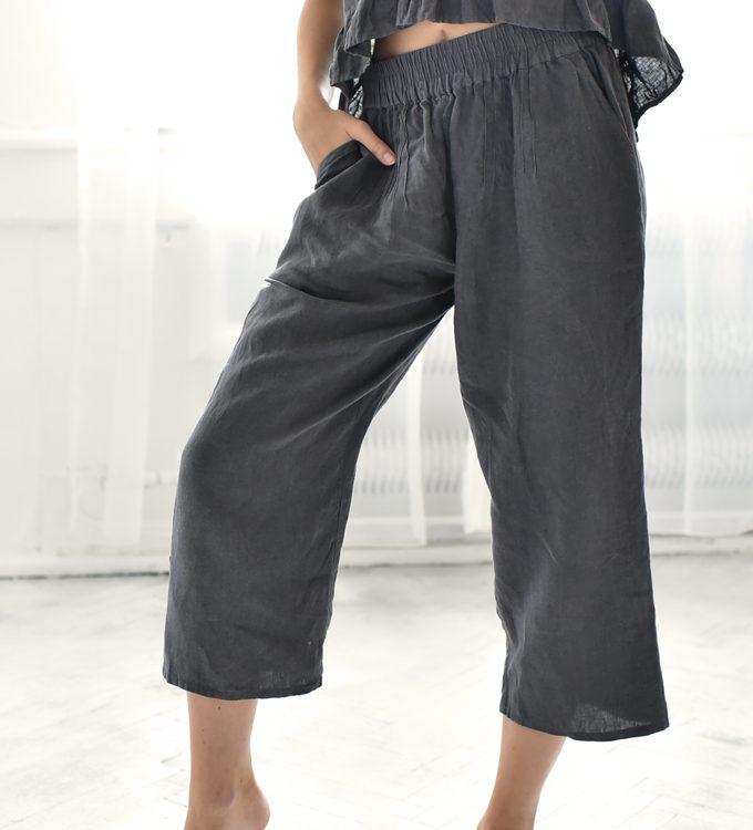 spodnie 3/4 damskie lniane