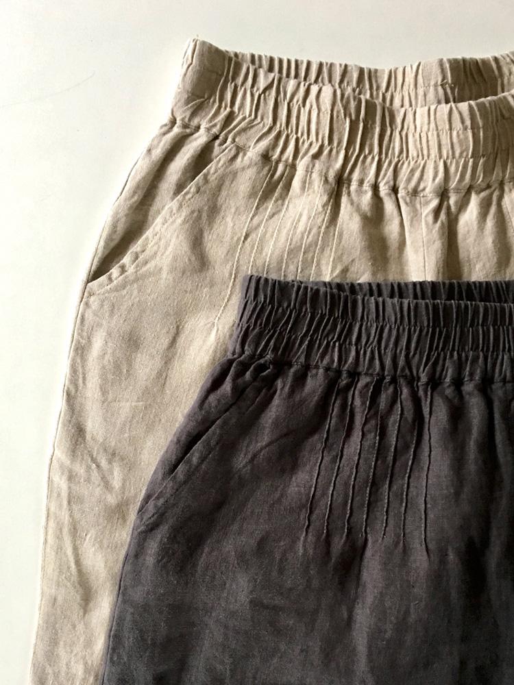 półdługie lniane spodnie