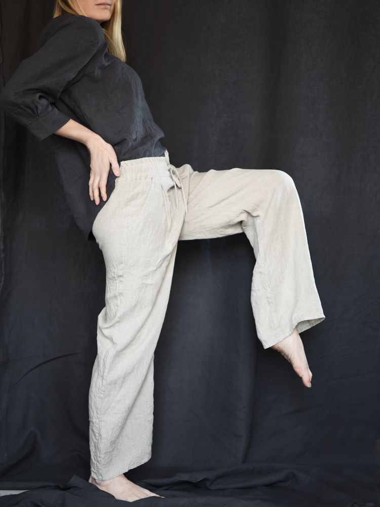 spodnie dlugie lniane