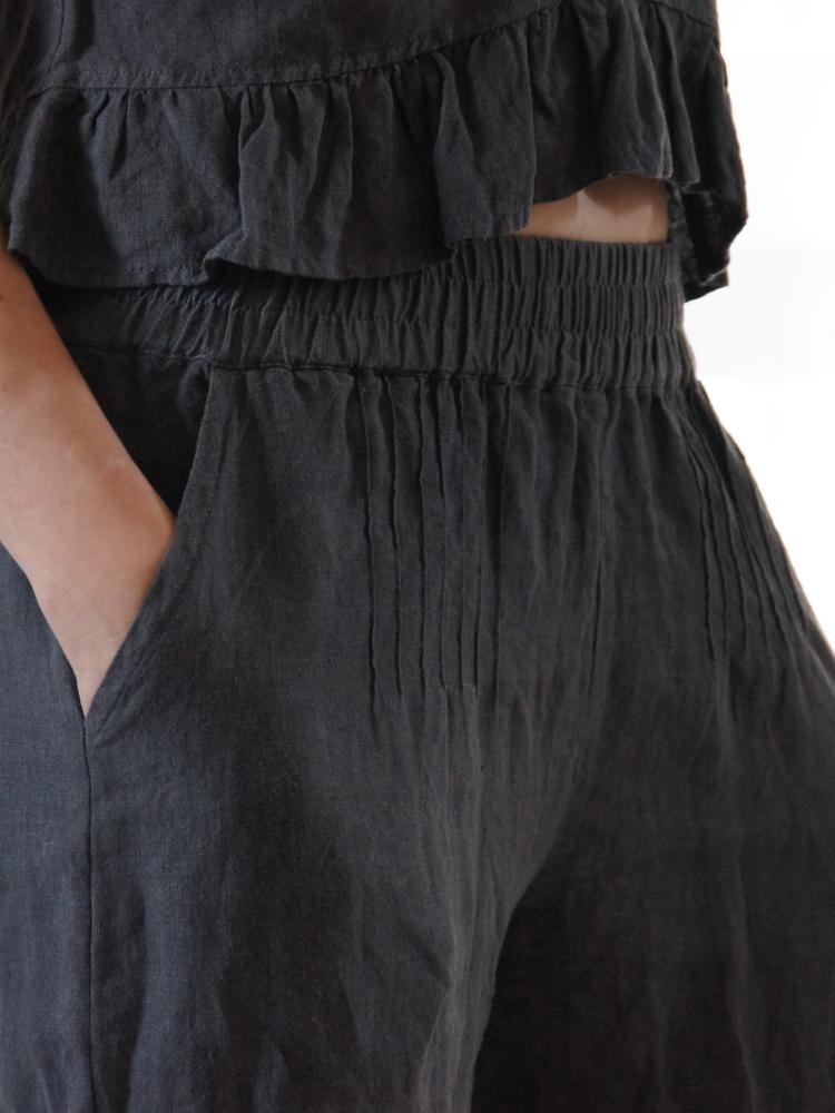 szerokie lniane spodnie damskie
