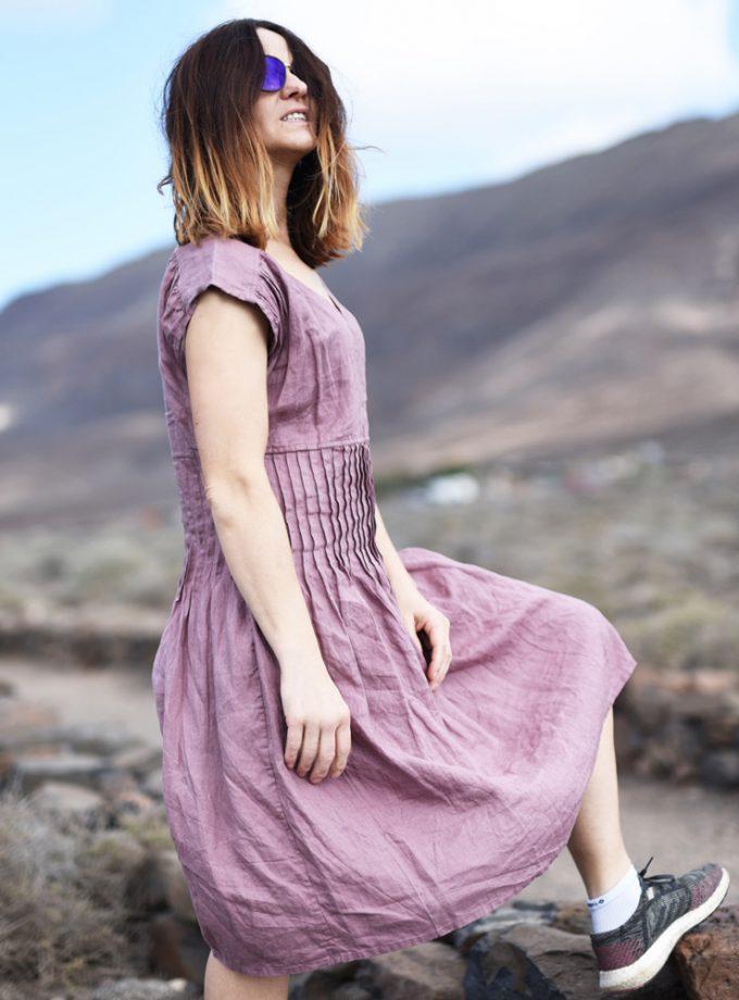sukienka plisowana lniana