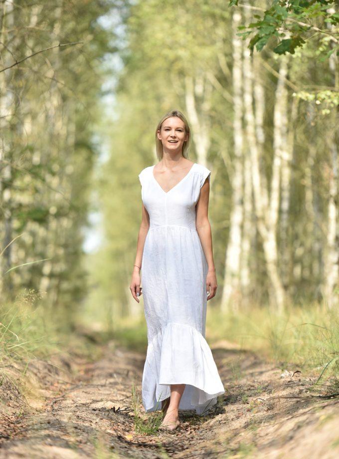 lniana sukienka biała