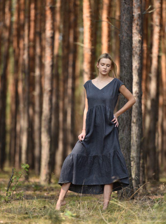 długa lniana sukienka oversize