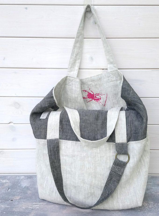 lniana torebka z haftem wygodna