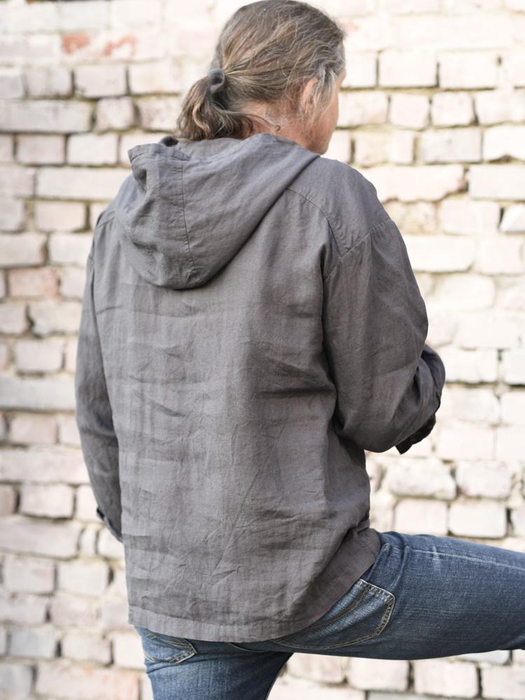 bluza męska lniana z kapturem
