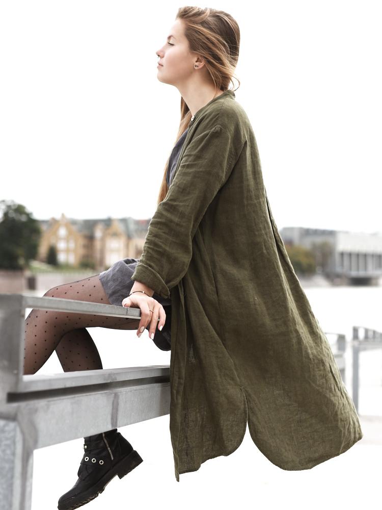 lniany płaszcz zielony