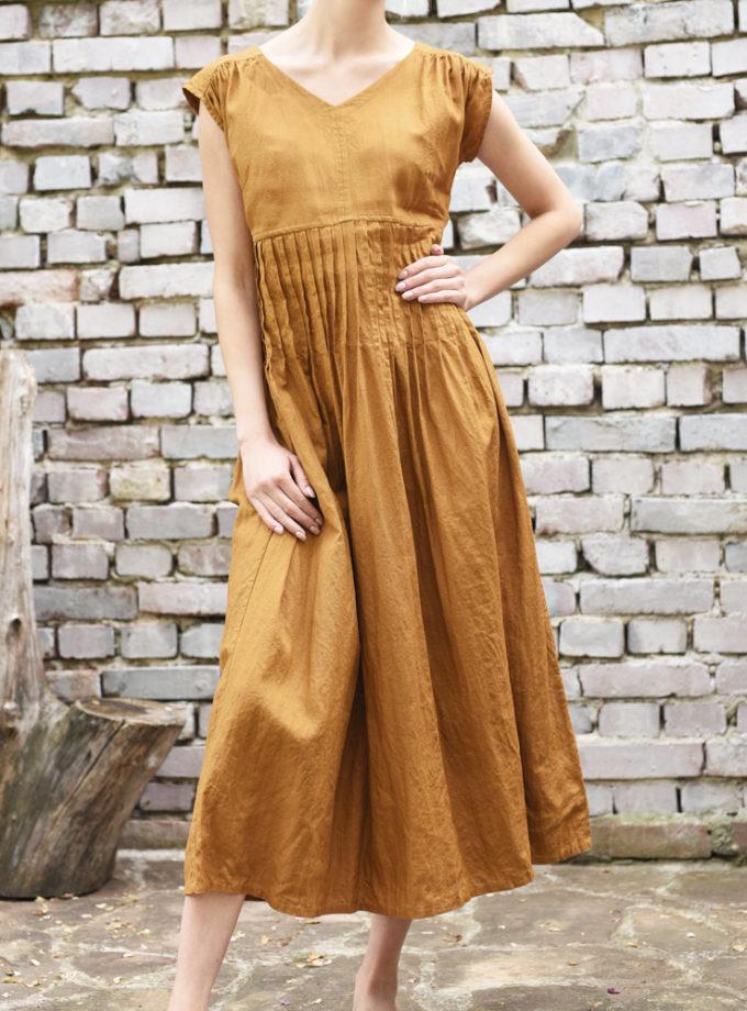 długa plisowana sukienka lniana
