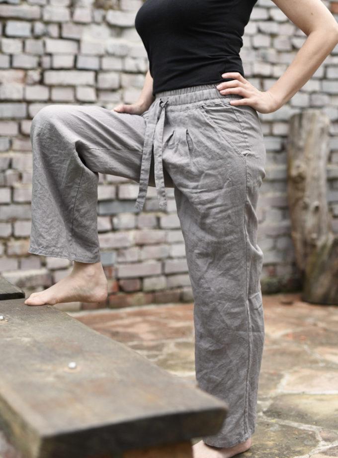 długie spodnie z lnu