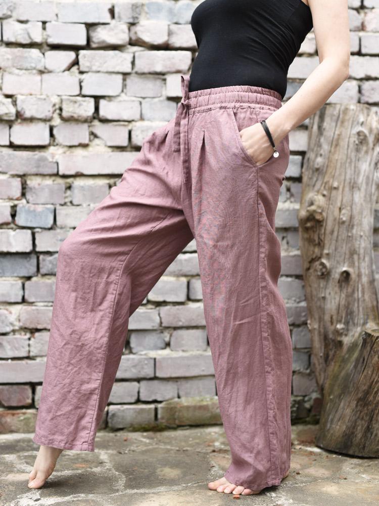 wygodne spodnie z lnu