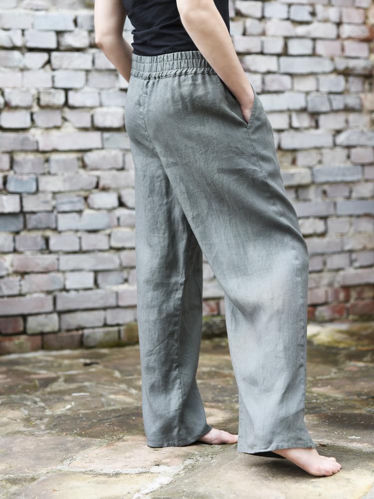 długie spodnie wygodne lniane