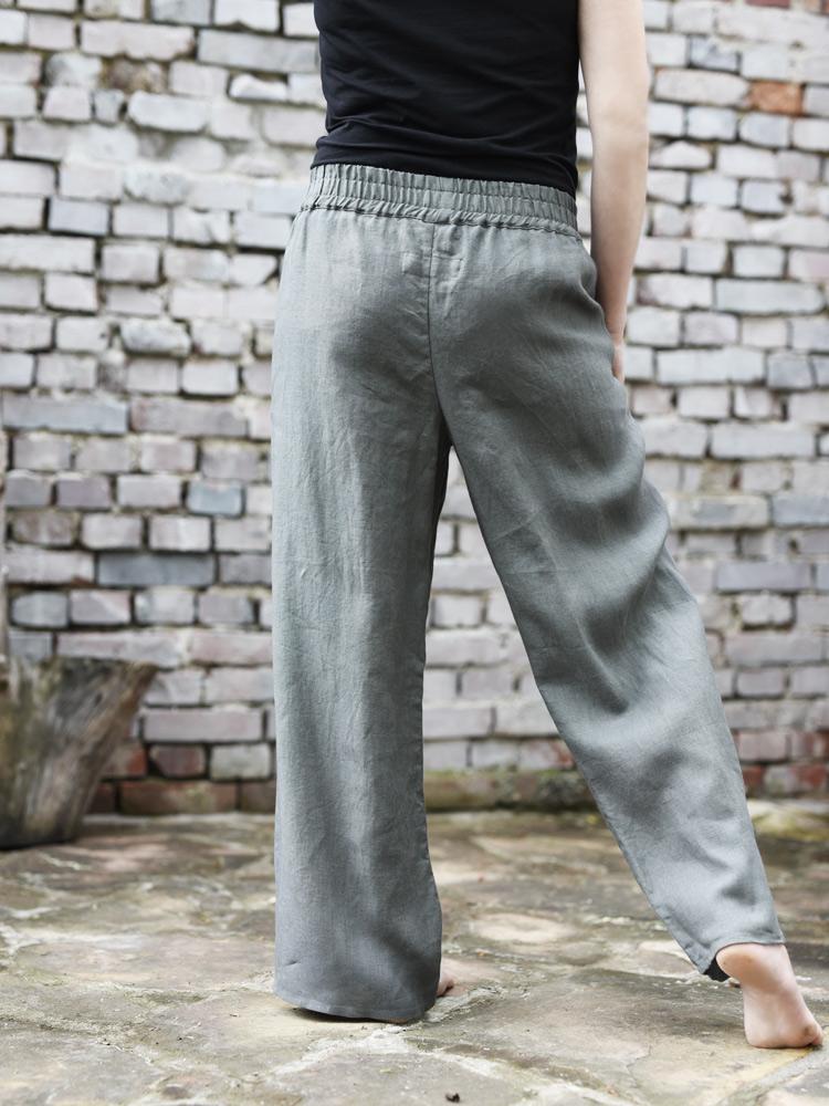 lniane spodnie długie khaki