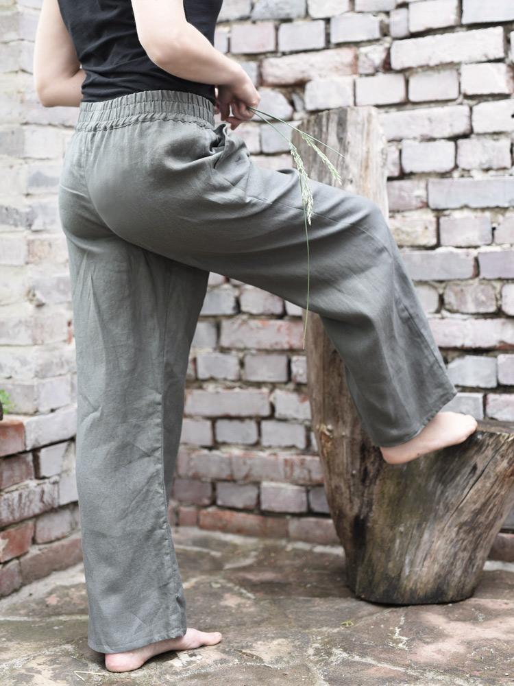 spodnie na gumce lniane