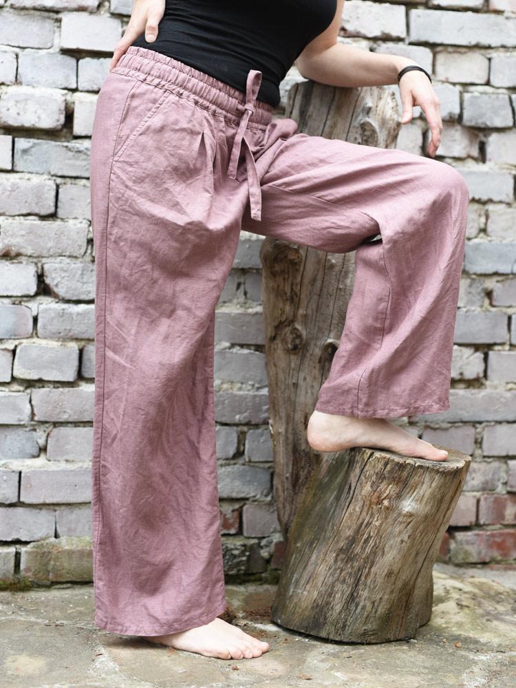 wrzosowe lniane spodnie