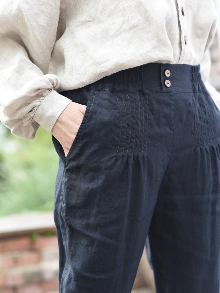 lniane spodnie przeszycie