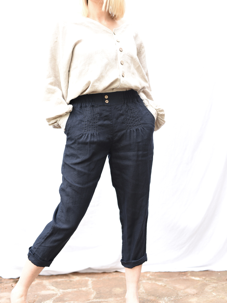 Lniane spodnie wygodne granat