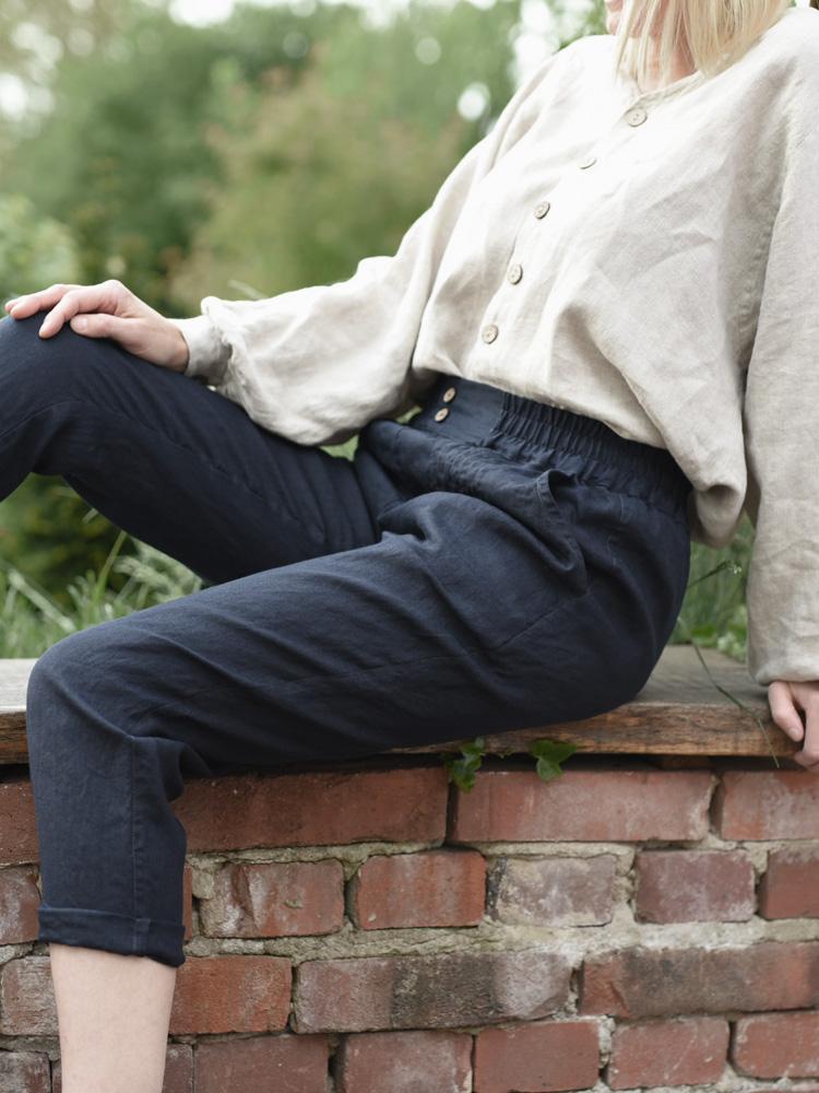 lniane spodnie granatowe