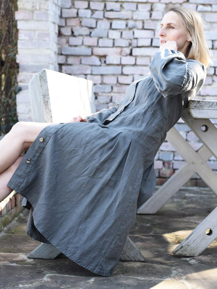 lniana sukienka z guzikami