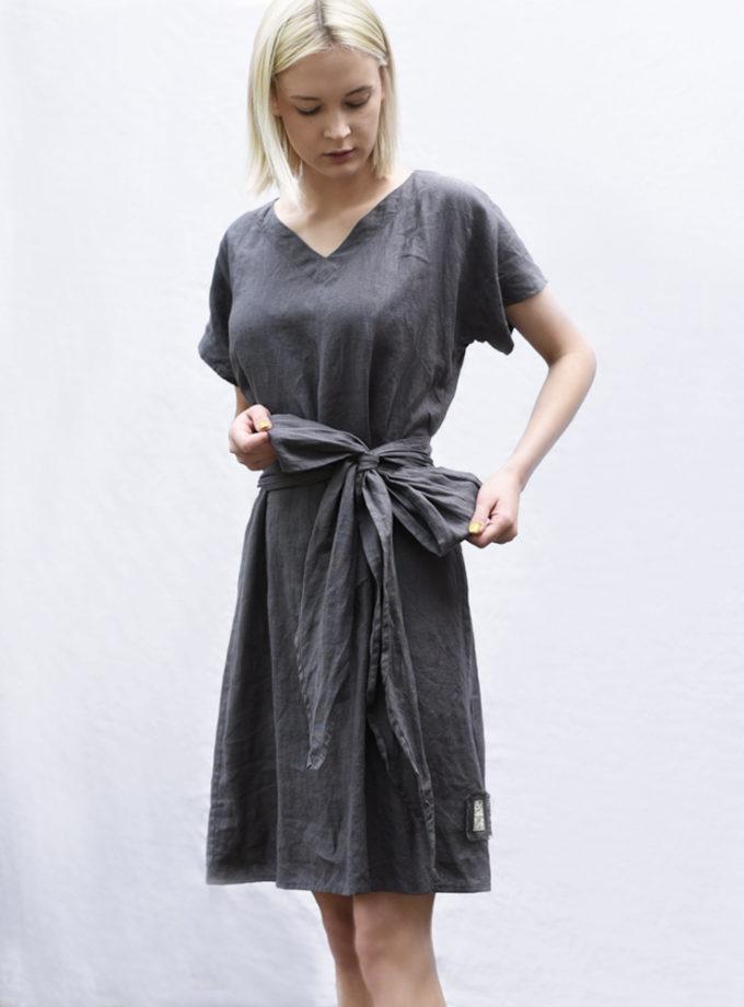 lniana sukienka z kokarda