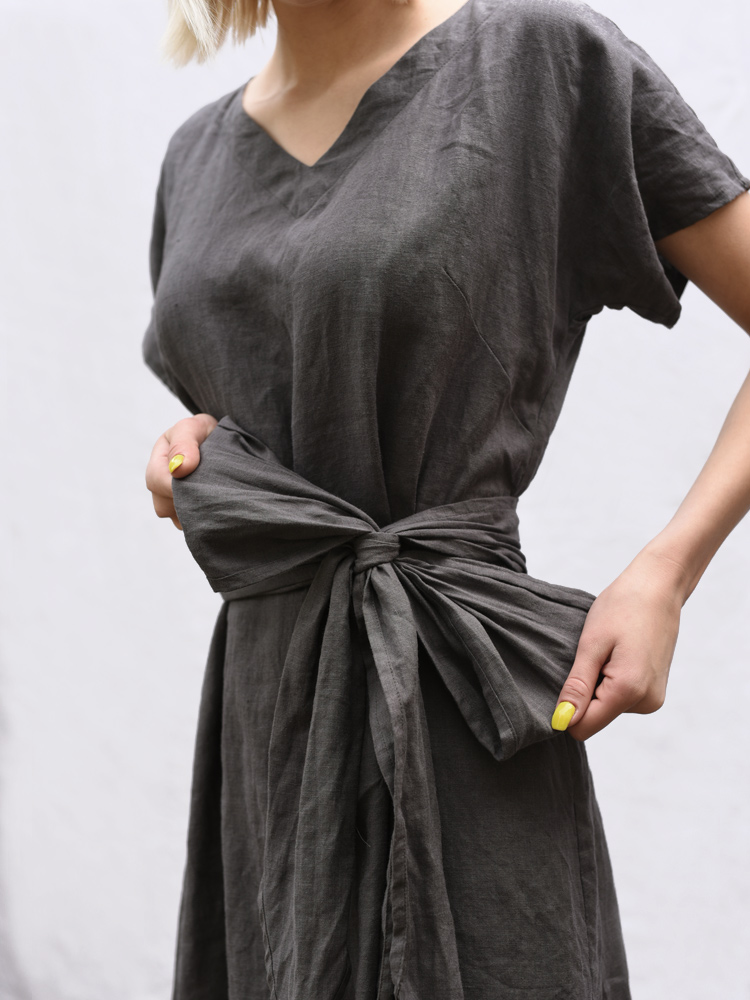 lniana długa sukienka