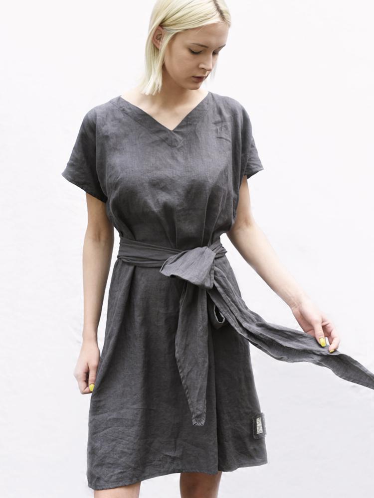 sukienka z lnu szara