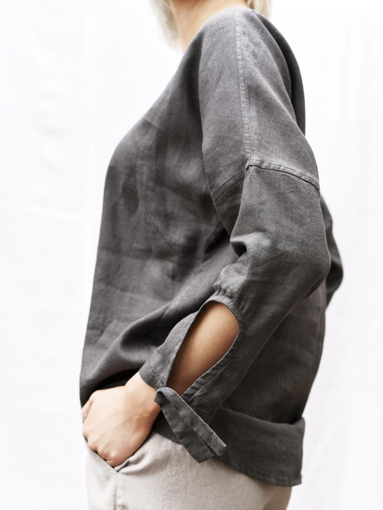 lniana koszula z wiązanymi rękawami