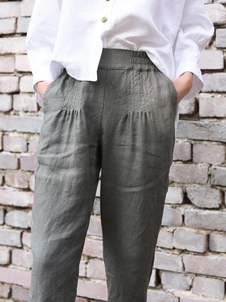lniane spodnie dlugie