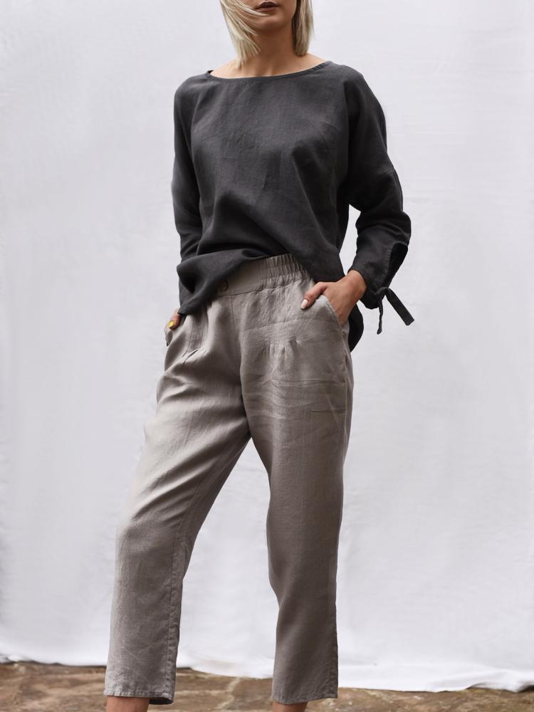 długie lniane spodnie