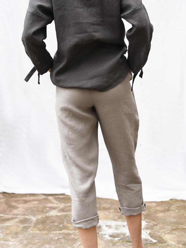 lniane spodnie szare