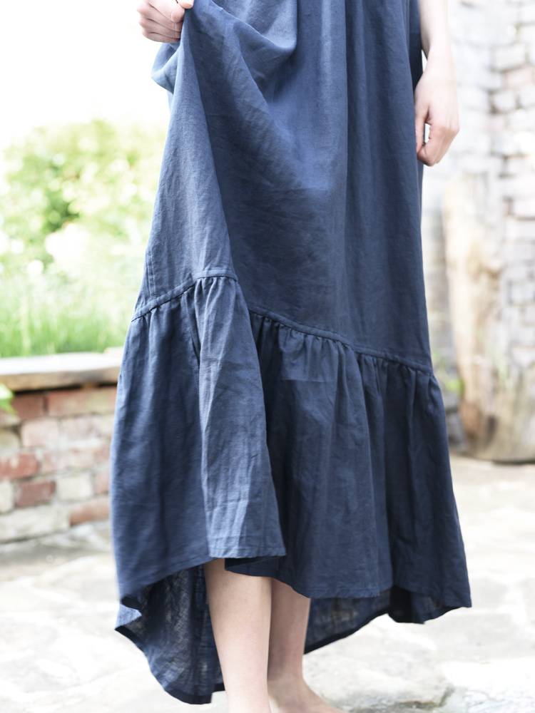 lniana sukienka plisowana granatowa