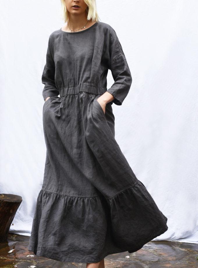 lniana sukienka z falbana