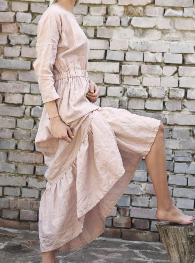 sukienka z falbana z lnu rożowy