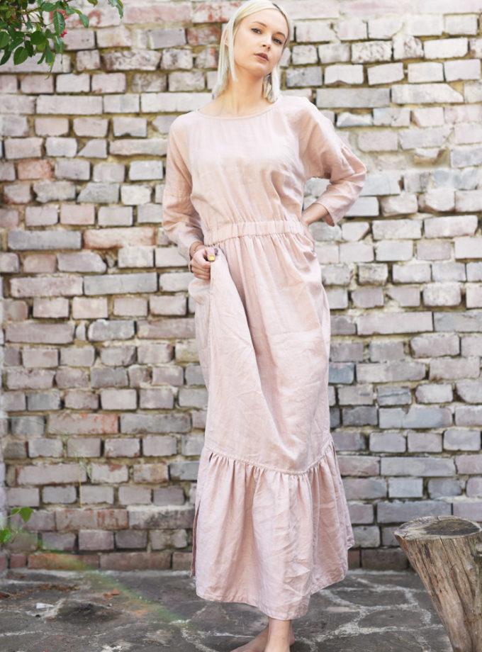 piękna sukienka lniana falbanka