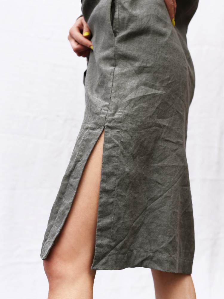 lniana dopasowana spódnica
