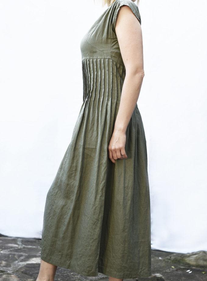 zielona plisowana sukienka długa