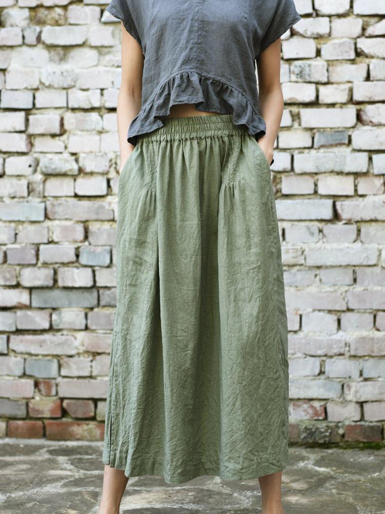 zielona lniana spódnica