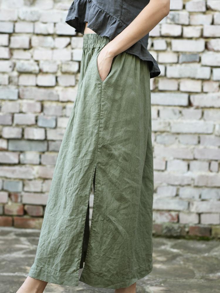 długa spódnica z lnu