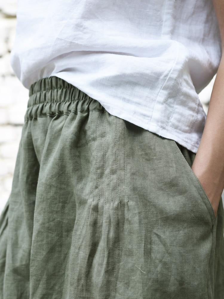 lniana spódniczka z kieszeniami