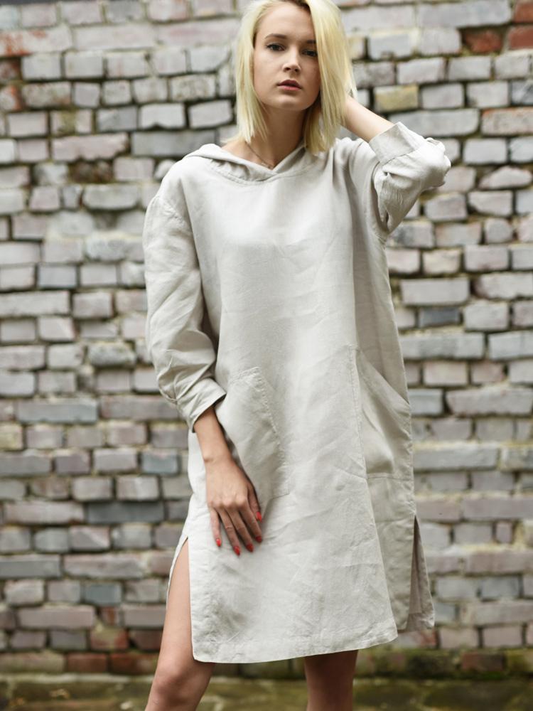 lniana sukienka z długim rękawem