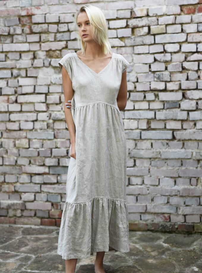 lniana długa plażowa sukienka