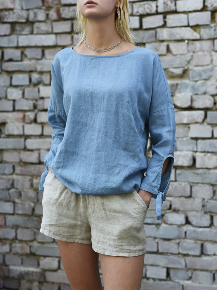 lniana bluzka z długim rekawem